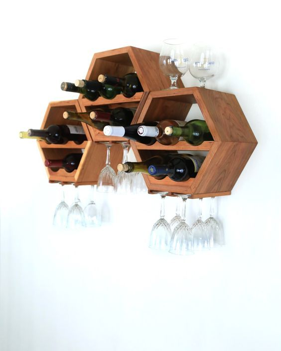 Hanging Wine Rack - Wood Wine Rack - Wine Storage - Modern Wine Rack - Kitchen Decor - Modular Wine Rack - Great gift idea - Set of 3 by HaaseHandcraft on Etsy https://www.etsy.com/listing/201663286/hanging-wine-rack-wood-wine-rack-wine