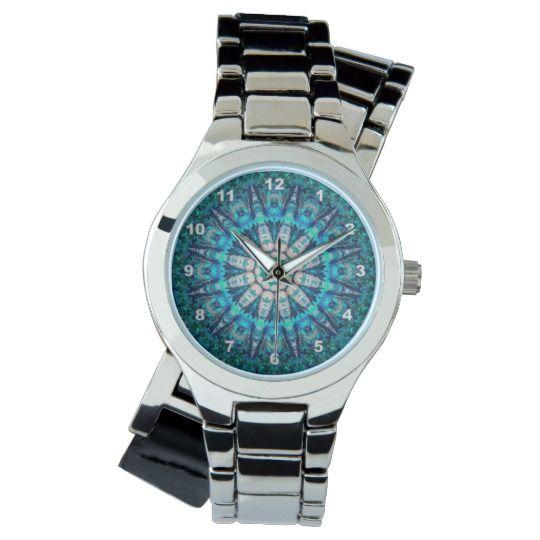 Blue Mandala Silver Wrap-Around Wrist Watch by www.zazzle.com/htgraphicdesigner* #zazzle #watch #wrist #wristwatch #blue #turquoise #mandala #woman #girl #kaleidoscope #gift #giftidea