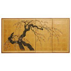 Japanese Four-Panel Byobu Screen Sakura Cherry Blossom Tree