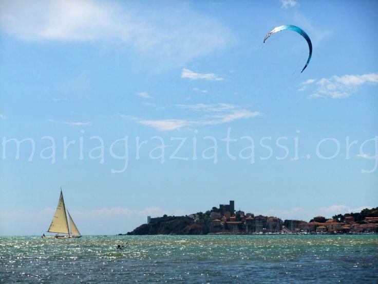 Sun, Summer, Seaside, Sailing, Kitesurfing, Talamone, Maremma, Tuscany, Italy.