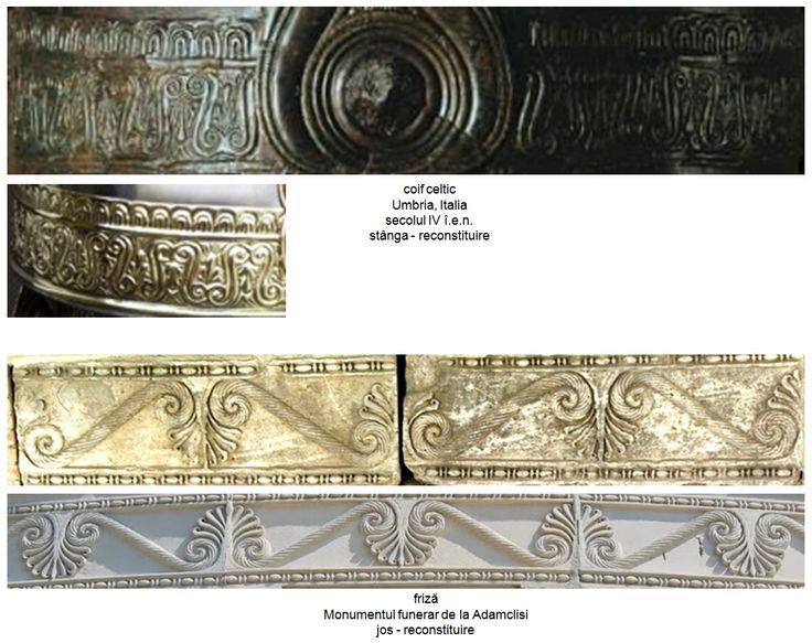 Pomul Vieţii sub forma palmetei, amplasat alternant între două volute, într-o manieră similară frizei care încinge monumentul funerar de la Adamclisi pe circumferinţă, era utilizat în civilizaţia celtică. Un coif celtic descoperit la Umbria, Italia şi aflat în prezent la Muzeul Naţional de Arheologie din Saint-Germain-en-Laye, datat în secolul IV î.e.n. perioada La Tene, prezintă o ornamentaţie similară frizei de la Adamclisi.