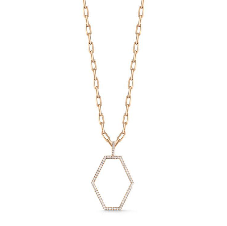 Walters Faith Keynes 18K Large Diamond Signature Hexagon Pendant Necklace Silver 3Kz5p3p