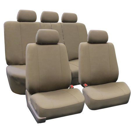 FH Group Universal Multifunctional Airbag Compatible and Split Bench Seat Covers, Taupe