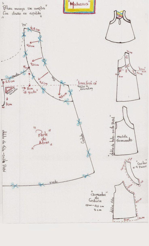 forma de trazar y transformar el diseño de la blusa. #moda #modazeus #moldes #blusas
