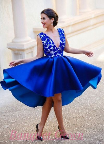 Elegant 2016 Royal Blue Cocktail Dress Deep V Neck Lace Satin Short Backless…