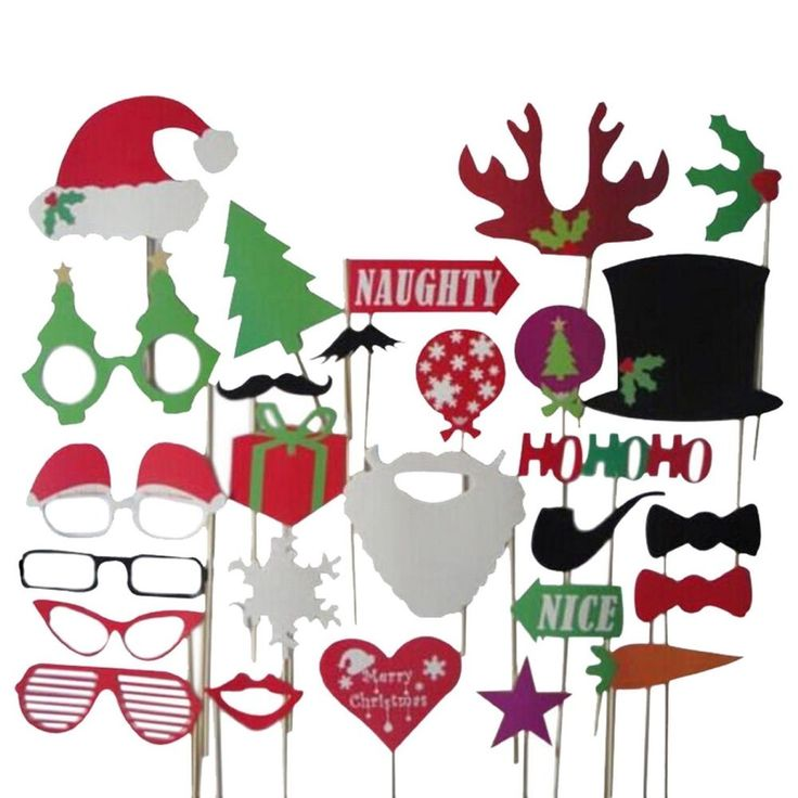 Selfie Christmas Santa Hat Party Masks Photo Booth Props Mustache 27pcs on Stick