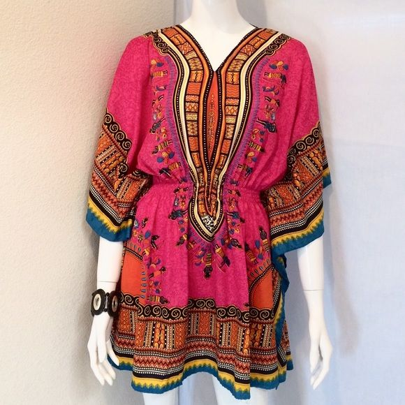 """Nathalie B Colorful Aztec Blouse Nathalie B V Neck Colorful Aztec Blouse with Butterfly Sleeves and Stretched Waist Band. Size Small. Measurements: Armpit to Armpit 24"""", Length 34"""". 100% Polyester. Nathalie B  Tops Blouses"""