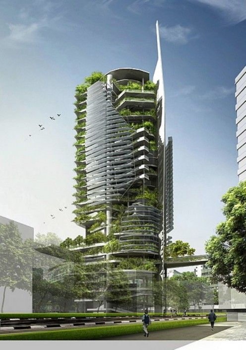 Singapore skyline with a theoretical Vertical Farm!