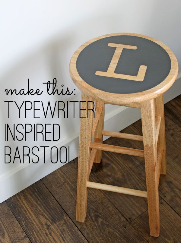 Typewriter Bar Stool Makeover on Shabby Creek Cottage at http://www.theshabbycreekcottage.com/2014/01/typewriter-inspired-barstool-makeover.html