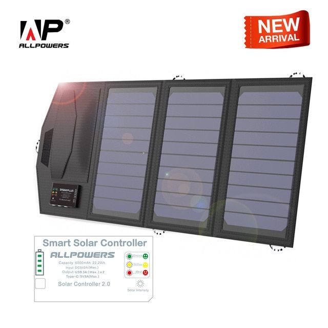 Allpowers Solar Battery Charger Mobile Power Bank 6000mah Portable 5v 15w Dual Usb Travel Outdoors Folding Camping Solar Panel Review Solar Panel Charger Solar Battery Charger Solar Battery