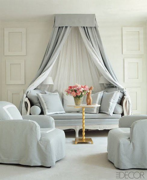 Grey and White #daybed and #canopy with inset contrast band on pillows