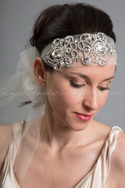 1920s Flapper Style Bridal Hairband, Rhinestone Great Gatsby Tulle Tie On Headband, Wedding Headband - Valentina