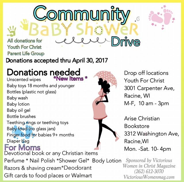 Community #Baby Shower Drive  All donations for Youth for Christ Parent Life Group