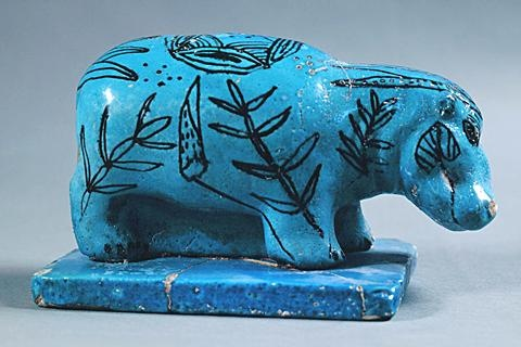 The hippopotamus was a symbol of rebirth in ancient Egypt, and ceramic figures of the hippopotamus were found in Egyptian tombs. They were painted bright blue and often decorated with images of water plants. This faience (glazed earthenware) hippopotamus dates from about 1650-1550 bc.