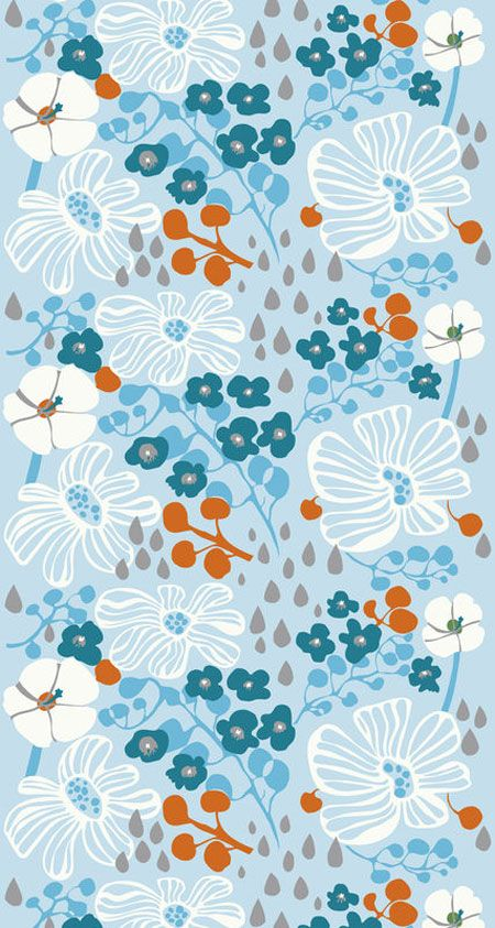 """Marimekko """"Tuliainen"""" floral pattern Fabric by Pia Holm"""