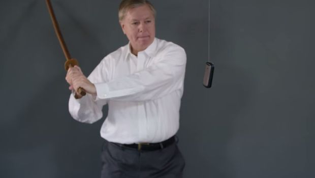 """It's Straight to Voicemail, for You. """"A day after Donald Trump read his telephone number aloud during a campaign appearance, South Carolina Sen. Lindsey Graham is offering a tutorial on how to destroy your cellphone."""" You go, Lindsey!"""