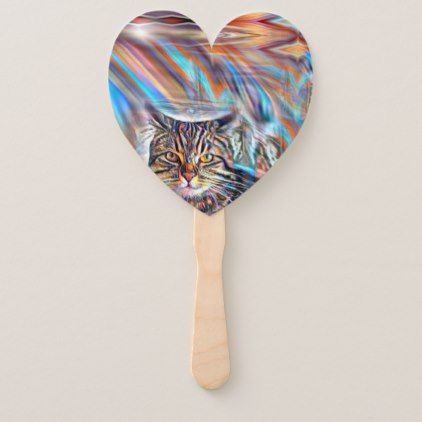 Adrift in Colors Tropical Sunset Cat Hand Fan - craft supplies diy custom design supply special