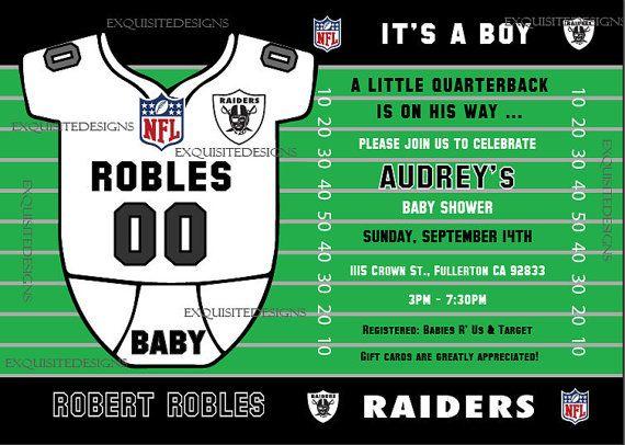 Diy Baby Shower Diaper Invitations Raiders Baby Shower In...