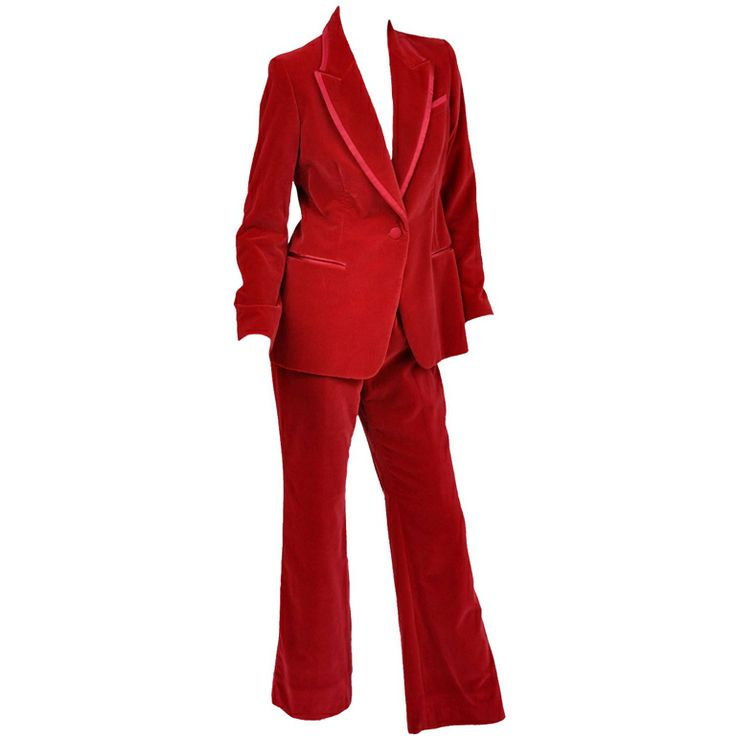 Tom Ford for Gucci Iconic Red Velvet Tuxedo Suit | From a collection of rare vintage suits, outfits and ensembles at http://www.1stdibs.com/fashion/clothing/suits-outfits-ensembles/