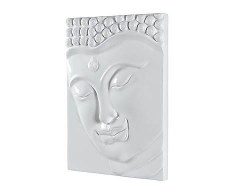 Cuadro de Buda en terracota, blanco -70x50 cm