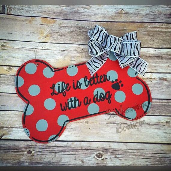 Door hanger Dog Door Hanger Dog Wooden Door by Southernismboutique