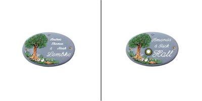 Türschild-Namensschild Baum Keramik blau-grau in den Abmessungen 17x11cm. Auf Wunsch ist das Schild mit einem Messing Klingelknopf erhältlich. Wunchtext für die Gravur ist frei wählbar.