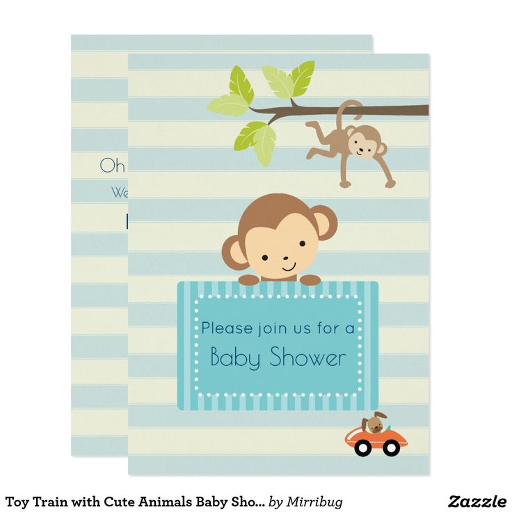 Toy Train with Cute Animals Baby Shower Invite
