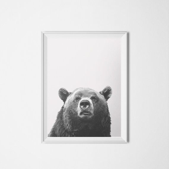 Black & White Bear Photography on Light Grey Linen Texture Printable - 16 x 20 Poster size   ~ You are purchasing an Instant Download of my original design.  ~The file is an EXTRA LARGE 16 x 20 poster size - You can also scale the file down to 8x10 or 5x7 just by changing your printer settings! ~ You will receive one (1) JPG file.  ~ Easily print unlimited copies at home, at your favorite local printer or send to an online printing service. IMAGE SPECIFICATIONS:  Image resolution: 300 ppi…