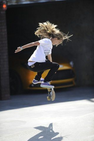 This is just a cool picture or I've never seen one. Skateboarding.