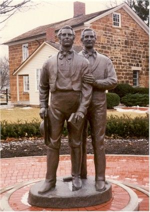 """Carthage statues.  Joseph, 38, and his older brother Hyrum, 44.  """"In life they were not divided, and in death they were not separated!""""  ~ Elder John Taylor"""