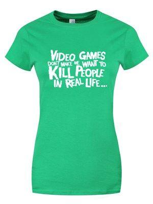 Real Life Gaming Ladies Green T-Shirt Grindstore #Gaming