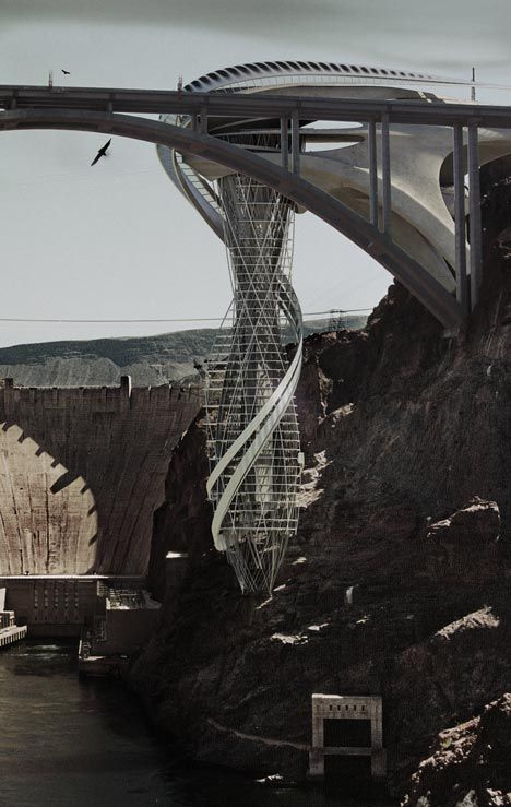 future, futuristic, Stephan Sobl, Vertical Strip, Hanging Tower, future buildings, Colorado River, futurist design, modern technologies, unusual architecture