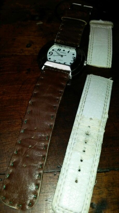 Took one hour to transform old into new. Watch cost $5. Used old leather scraps, glue and thread.