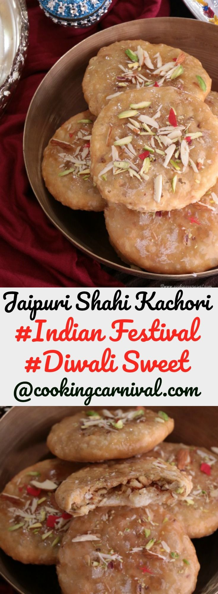 Jaipuri Shahi Kachori is Mawa and Dry fruit stuffed, coated with sugar syrup can be prepared on any Occasion. Diwali is coming in few days. Sweets are always an important part of this festival or I would say of any festival. Diwali is all about lights and good food.