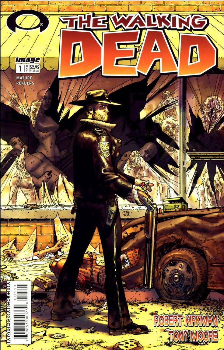 The cover to The Walking Dead #1 (2003), art by Tony Moore