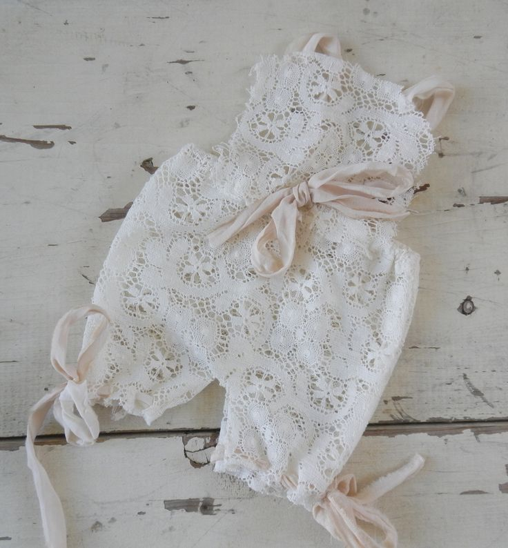 Adorable romper made from ivory cotton laceties with silk chiffonNB size