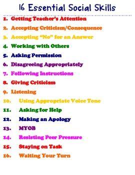16 Social Skills Poster