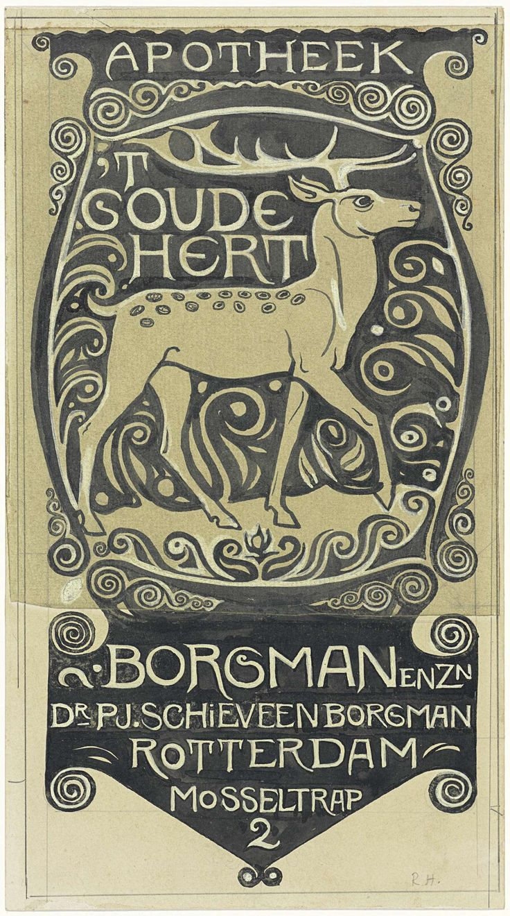 Richard Roland Holst | Vignet Apotheek 't Goude Hert, Rotterdam, Richard Roland Holst, 1878 - 1938 | Ontwerp voor een vignet.