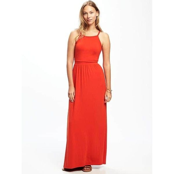 Old Navy Womens High Neck Maxi Dress ($40) ❤ liked on Polyvore featuring dresses, petite, tobiko orange, white sleeveless dress, orange dress, white maxi dress, mesh maxi dress and spaghetti-strap maxi dresses