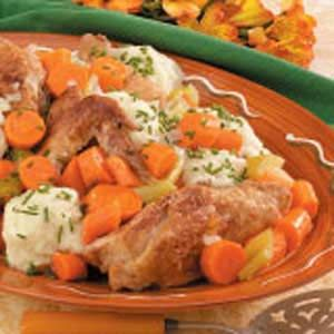 Chicken Fricassee with Dumplings recipe  Mary Lincoln once ordered chicken fricassee with biscuits and white gravy to convince the president to take time to eat!