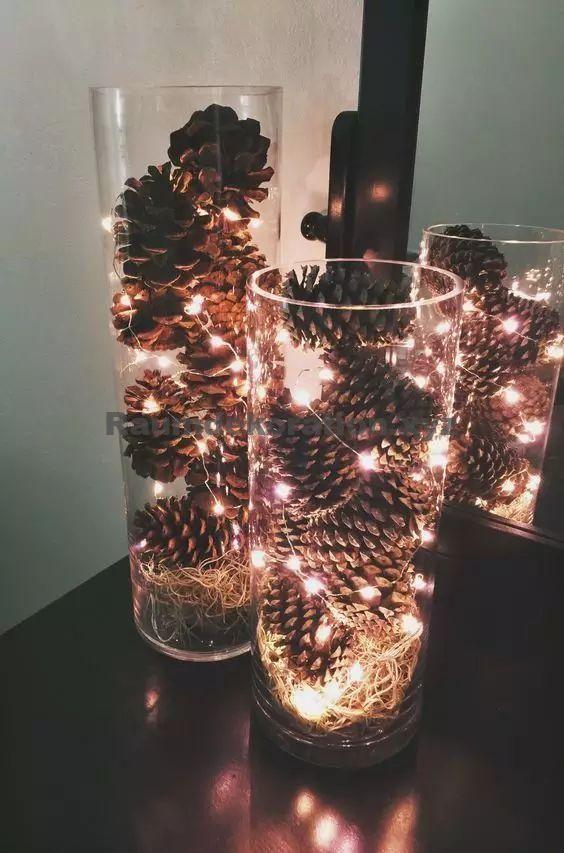 Table Decoration Wedding – Christmas decorations with pine cones – DIY ideas – pine cones