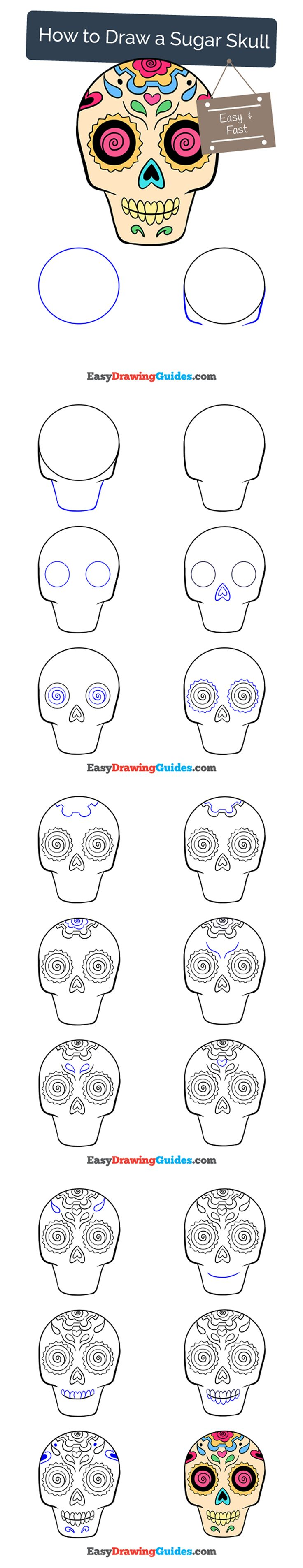 Learn How to Draw a Sugar Skull (or calavera): Easy Step-by-Step Drawing Tutorial for Kids and Beginners. #sugarskull #calavera #drawing #tutorial. See the full tutorial at https://easydrawingguides.com/how-to-draw-a-sugar-skull/