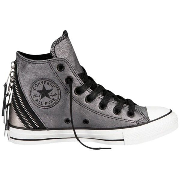 Converse Chuck Taylor All Stars Tri-Zip Detail Leather Trainers,... found on Polyvore