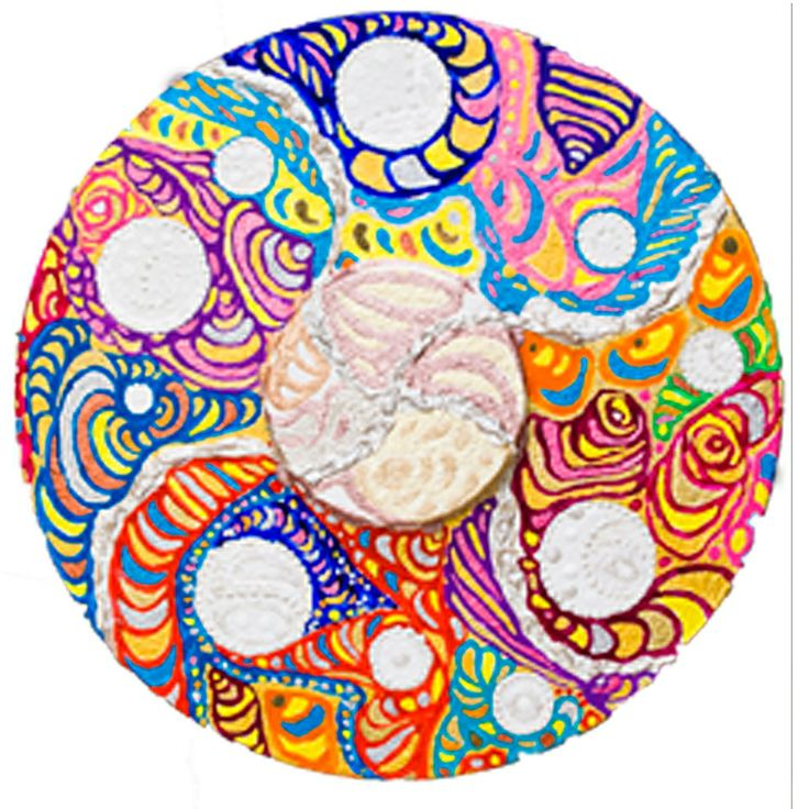 """Tondo: """"Paradiso"""" 3. Polyptych by Irena Lisiewicz. Inspiration - """"The Divine Comedy"""" (Paradise) by Dante Alighieri. Original abstract painting - contemporary art. Medium: acrylic on MDF board. Diameter: 15"""". #art, #acrylic, #painting, #collections, art object, #bas-relief, #tondo, #finearts, #symbol, #original, #paradiso, #Dante Alighieri, #TheDivineComedy, #contemporaryart, #polyptych, #IrenaLisiewicz"""