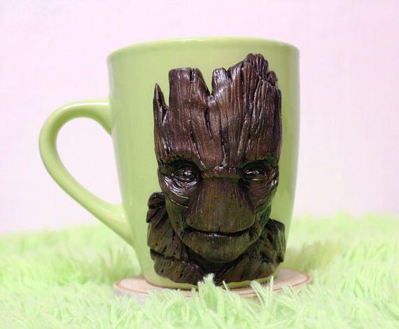 groot mug with polymer clay decorative mug handmade