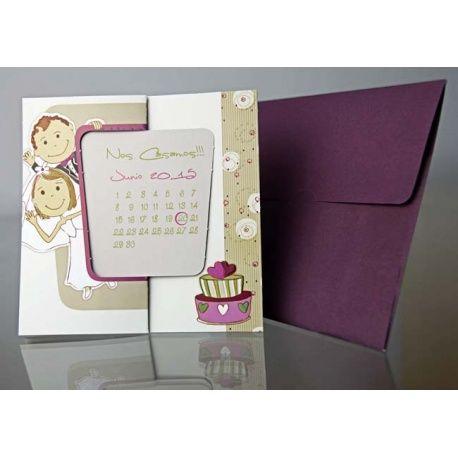 Invitación de boda original fecha con calendario y sobre morado