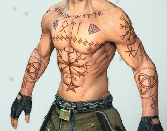 Riccun. Viking Cosplay Tattoos. Runes and symbols. World of Darkness