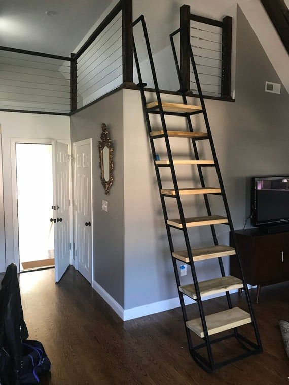 9 Ft Loft Ladder Librarian Free Shipping To Your Door Etsy In 2020 Loft Ladder Loft Railing Small Loft Spaces