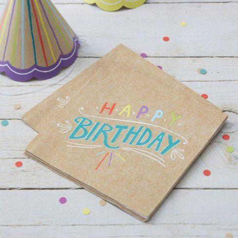 "Tovaglioli ""HAPPY BIRTHDAY"" kraft _cm33 (pz 20) - Baby Party - Party e allestimenti"