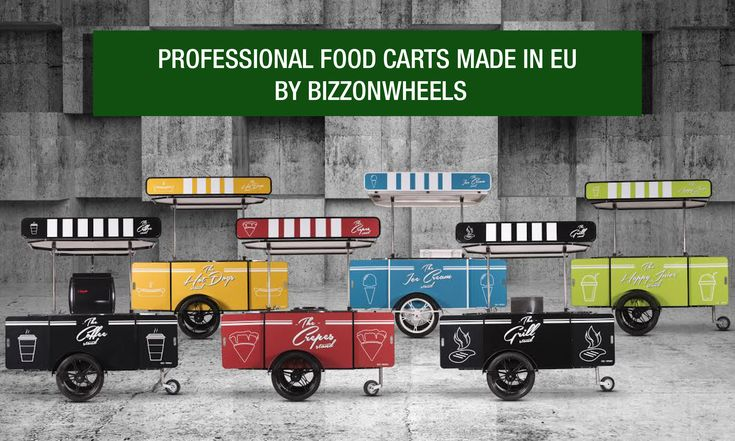 Professional food carts proudly handcrafted in EU by BizzOnWheels: hot dog carts, grill food carts, crepes carts, ice cream carts, coffee carts, juice carts and custom food carts.   #foodcarts #pushcarts